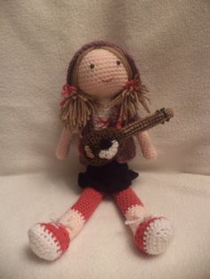 Crochet doll Gina Guitar Doll by beautifwool on Etsy - $36.80 Guitar Gifts, Dolls, Christmas Ornaments, Trending Outfits, Holiday Decor, Crochet, Unique Jewelry, Handmade Gifts, Fun
