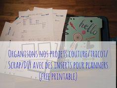 inserts projets couture tricot diy pour planner /organizer / agenda / filofax