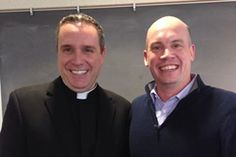 Paulist Fr. Dave Dwyer (left) during a presentation at the New York Chapter of the Religion Communicators Council