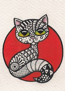 Zentangle Cat in Orange Circle - Original Art
