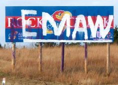 On I-70 west bound towards Manhattan. KU has since replaced it with a billboard about their Med School.
