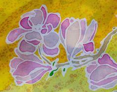 Sacred Silk Scarf | Hand painted | One of a kind design |Tulip Tree Spirit Medicine | Altar | Pagan sacred silks | Unisex