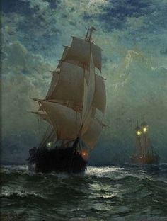 Sailing Ship on the Open Sea- Edward Moran. Moby Dick, Bateau Pirate, Old Sailing Ships, Ship Paintings, Boat Art, Nautical Art, Ship Art, Tall Ships, Lighthouse