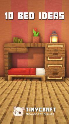 Minecraft Cottage, Easy Minecraft Houses, Minecraft House Tutorials, Minecraft Bedroom, Minecraft Plans, Minecraft House Designs, Amazing Minecraft, Minecraft Tutorial, Minecraft Blueprints