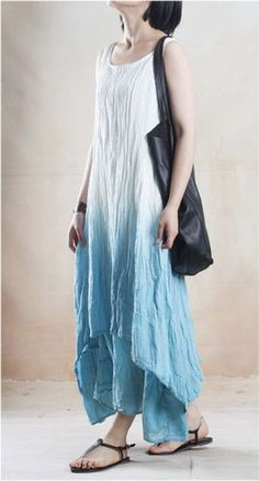 Casual Linen Dress in Blue