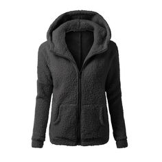 Women Solid Color Coat Thicken Soft Fleece Winter Autumn Warm Jacket Hooded Zipper Overcoat Female Fashion Casual Outwear Coat G Hoodie Sweatshirts, Coats For Women, Jackets For Women, Types Of Jackets, Boutique, Outerwear Women, Lady, Mantel, Hooded Jacket