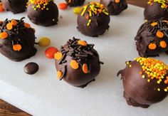 Reese's Pieces Chocolate Chip Cookie Dough Truffles.