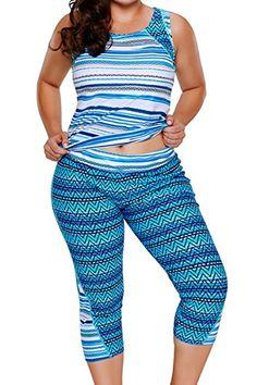 d01078670e47a JooMeryer Womens Floral Printed Racerback Tankini Swimsuits with Swim Capris  M-XXXXL Plus Size -