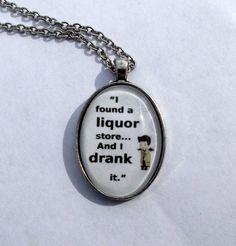 "Castiel ""I found a liquor store & I drank it"" quote necklace. Supernatural #Handmade"