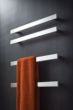 Infinity Electric Towel Warmer in Brushed Stainless Steel, Silver Brushed with this heated towel rack and make chilly mornings more bearable and easy. with this heated towel rack and make chilly mornings more bearable and easy. Towel Hangers For Bathroom, Bathroom Towels, Small Bathroom, Master Bathroom, Bathroom Ideas, Bronze Bathroom, Bathroom Wall, Bathroom Modern, Bathroom Heater