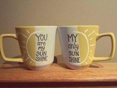 You are my sunshine coffee mugs set of 2 by on Etsy Cute Coffee Mugs, Coffee Mug Sets, I Love Coffee, Mugs Set, My Coffee, Coffee Cups, Diy Becher, Chocolate Cafe, Couple Mugs
