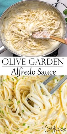 Make Olive Garden s Alfredo Sauce Recipe at home in just 20 minutes Pair it with Fettuccine for an easy dinner idea the whole family will love alfredo olivegarden fettuccine pasta italian dinner # Pasta Sauce Recipes, Beef Recipes, Healthy Recipes, Olive Recipes, Italian Food Recipes, Easy Pasta Dinner Recipes, Easy Pasta Dishes, Pasta Dinners, Chicken Recipes