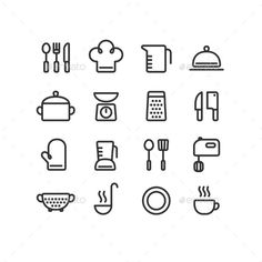 Buy Cooking Icons by Sudowoodo_DISABLED on GraphicRiver. Set of 16 clean line icons featuring various kitchen utensils and cooking related objects. Fully editable, can be cus. Small Tattoos, Cool Tattoos, Tatoos, Tatto Mini, Koch Tattoo, Cooking Tattoo, It Icons, Culinary Tattoos, Graphic Design Posters