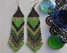Boho earrings Beaded earrings Dangle от BeadedJewelryVirunia