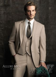 Allure Men - Tan The Allure Men by Jean Yves is our newest tuxedo line! Beginning spring Hart's has the newest and best in Tuxedo style and in stock selection. Tan Tuxedo, Groom Tuxedo, Tuxedo For Men, Tuxedo Wedding, Wedding Suits, Wedding Tuxedos, Gatsby Wedding, Costume Smoking, Parker Hurley