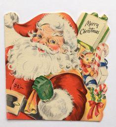 Vintage Hallmark Christmas Card Die Cut Santa Claus Toy Bear Present Candy Bow