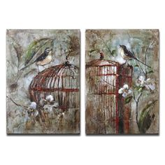 Birds In A Cage I, Ii, Set Of Two By Billy Moon: 18 In. X 26 In. Painting Uttermost Wall A