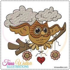 Owl Whimsy 1 Machine Embroidery Design http://trinawalker.com/shop/index.php?main_page=product_info&cPath=78_79&products_id=130