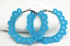 Crochet hoop earrings Crochet jewelry Big earrings by lindapaula Crochet Mittens Pattern, Crochet Scarf Easy, Crochet Jewelry Patterns, Crochet Earrings Pattern, Crochet Accessories, Knit Patterns, Textile Jewelry, Fabric Jewelry, Thread Crochet