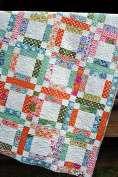 PDF Quilt PATTERN ....One Jelly Roll, Easy and Quick, Grandma Marys Five Patch