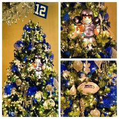 Seattle Seahawks 12th man Christmas tree. Who would kill me for doing this?! Chris votes yes for it