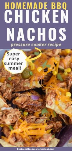 Super easy bbq shredded chicken nachos recipe. Use a pressure cooker, Ninja Foodi, or instant pot to cook the chicken quickly! Loaded nachos on a sheet pan for a super quick and easy summer meal! Bbq Chicken Nachos, Easy Bbq Chicken, Shredded Bbq Chicken, Chicken Recipes, Easy Summer Meals, Easy Weeknight Meals, Vegan Kitchen, Kitchen Recipes, Honey Bbq Sauce Recipe