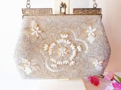 Beaded Evening Bag Silver and Pearl Beaded by LittleBitsofGlamour