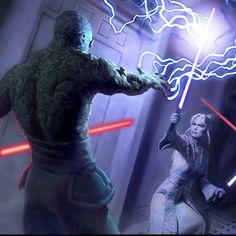 Darth Sion in heated battle with a Jedi foe.