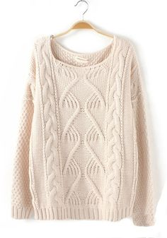 ++ beige plain round neck loose cotton blend sweater