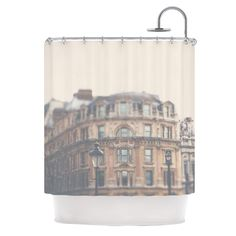 Kess InHouse Laura Evans London Town Brown Shower Curtain