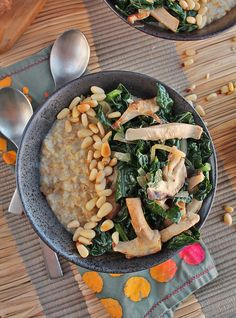 These kale mushroom savory oats are made with steal cut oats, fresh kale, and shiitake mushrooms for a hearty and healthy breakfast.
