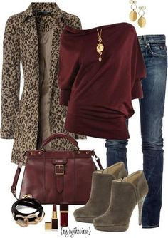 have leopard coat burgundy tee taupe booties burgundy bag