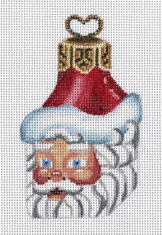 "Needlepoint Santa ornament as a little box. design: 4""h 18 mesh $30.00"