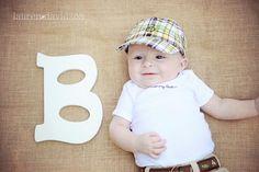 3 month baby photo ideas. Unique three month photos. Lauren Davidson photography. Letter of name prop photo idea.