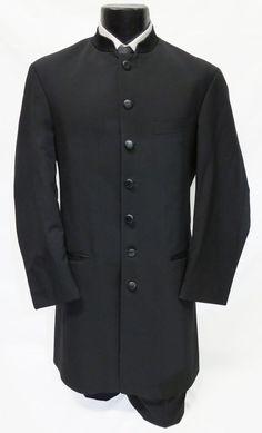 46S Mens Apollo Black Mandarin Long Tuxedo Jacket 7 Button Frock Coat Steampunk #AndrewFezza #7Button