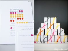 colorful modern wedding invitations that coordinate with the favors! #weddingideas