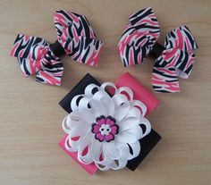 Fashionable Hot Pink Black & White Hair Bow Collection - ColorfulBows