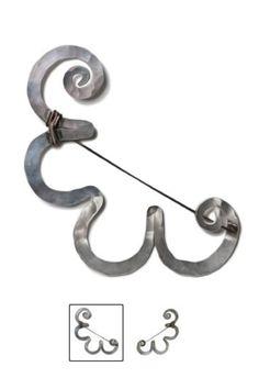 Brooch | Alexander Calder. Hammered sterling silver and steel wire. 1957 || Sold Dec 2012 ~ 37,000$