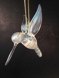 silver veiled hanging hummingbird by JABGLASSART on Etsy, $25.00