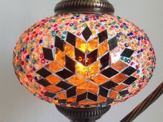 Orange Star Design Mosaic Lamp With Vintage Look Square Base - Sophie's Bazaar  - 1