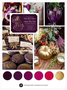 Purple and gold is the perfect color combination for your jewel tone fall wedding. Get beautiful inspiration with Wedding Paper Divas! Fall Wedding Colors, Autumn Wedding, Wedding Color Schemes, Purple And Gold Wedding, Jewel Tone Wedding, Foil Wedding Invitations, Invites, Wedding Paper Divas, Wedding Wishes
