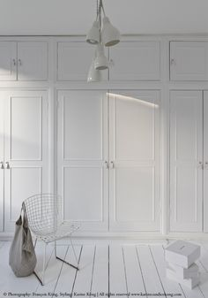 white fitted cupboards, Bertoia chair, linen bag, white floorboards, my home
