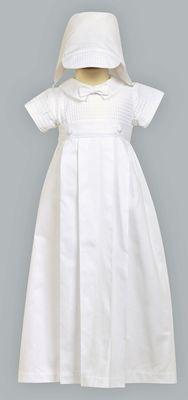 Boys Christening Cotton Weaved Romper w/ Detachable Gown