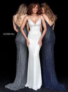 Sherri Hill 50860 Silver White Navy Fully Beaded Floorlength Ypsilon Dresses Pageant Formal Formalwear