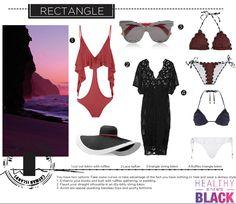 Beach wear & fashion looks for rectangle body type. Swimwear edition