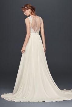Cute Scalloped Lace Wedding Dress with Chiffon Skirt Style WG