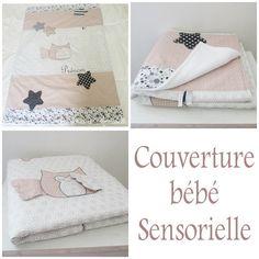 Couverture bébé ou tapis d'éveil sensoriel 70 cm x 100 cm PERSONNALISABLE