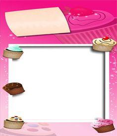 tarjeta de cumpleaños en tonos rosa con pastelitos de decoración. www.fotoefectos.com