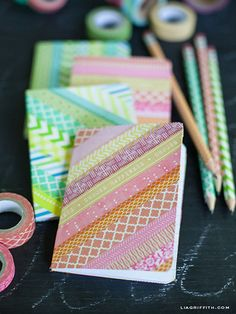 DIY washi tape ideas to inspire you! We'll also explain what washi tape is and where to buy it. DIY Washi Tape Ideas First, what is washi tape? Diy Notebook Cover, Diy Washi Tape Notebook, Writing Notebook, Notebook Ideas, Diy Washi Tape Crafts, Diy And Crafts, Paper Crafts, Diy Mit Washi Tape, Duct Tape
