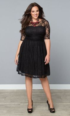 Kiyonna Plus Size Luna Lace Dress Size 3X Black Cocktail Party Dress Made in USA #Kiyonna #ALine #Cocktail